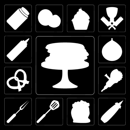 Set Of 13 simple editable icons such as Pancakes, Mustard, Flour, Spatula, Fork, Grinder, Pretzel, Fig, Mustard on black background