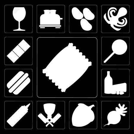 Set Of 13 simple editable icons such as Chips, Radish, Hazelnut, Butcher, Mustard, Dairy, Hot dog, Jawbreaker, Biscuit on black background 일러스트