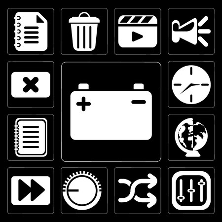 Set Of 13 simple editable icons such as Battery, Controls, Shuffle, Volume control, Fast forward, Worldwide, Note, Clock, Close on black background