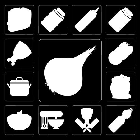 Set Of 13 simple editable icons such as Onion, Water, Butcher, Mixer, Pasta, Flour, Pot, Cookies, Ham on black background Illustration