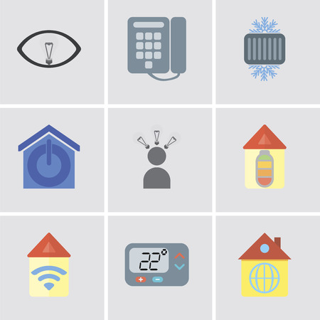 Set Of 9 simple editable icons such as Home, Thermostat, Automation, Smart, Smart home, Cool, Dial, can be used for mobile, pixel perfect vector icon pack