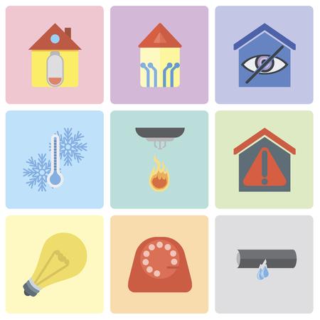 Ensemble de 9 icônes modifiables simples telles que fuite, cadran, lumière, maison intelligente, capteur, température, maison, peuvent être utilisées pour le pack d'icônes vectorielles mobiles, pixel parfait Vecteurs