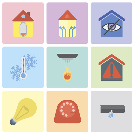Set Of 9 simple editable icons such as Leak, Dial, Light, Smart home, Sensor, Temperature, Home, can be used for mobile, pixel perfect vector icon pack Vector Illustration