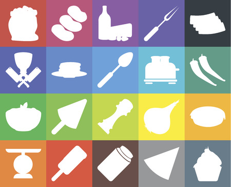 Set Of 20 icons such as Cupcake, Pizza, Honey, Ice cream, Scale, Bacon, Pie, Pepper, Pasta, Pancakes, Toaster, Flour, Dairy, web UI editable icon pack, pixel perfect Stock Vector - 111925896