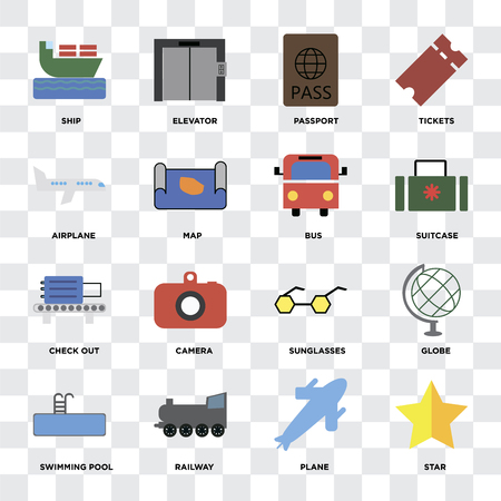 Set Of 16 icons such as Star, Plane, Railway, Swimming pool, Globe, Ship, Airplane, Check out, Bus on transparent background, pixel perfect Illustration