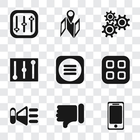 Set Of 9 simple transparency icons such as Smartphone, Dislike, Speaker, Menu, Controls, Settings, Map, can be used for mobile, pixel perfect vector icon pack on transparent Illustration