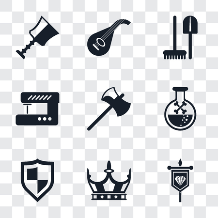 Set Of 9 simple transparency icons such as Banner, Crown, Shield, Poison, Axe, Sewing machine, Tools, Lute, Cup, can be used for mobile, pixel perfect vector icon pack on transparent background Illustration