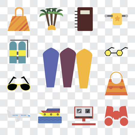 Set Of 13 transparent editable icons such as Surfing, Binoculars, Booking, Cruise, Airplane, Bag, Sunglasses, Aqualung, web ui icon pack, transparency set
