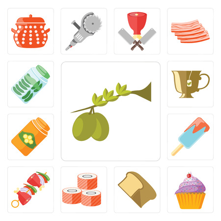Set Of 13 simple editable icons such as Olives, Cupcake, Bread, Sushi, Kebab, Ice cream, Honey, Tea, Pickles, web ui icon pack Ilustrace