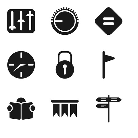 Set Of 9 simple editable icons such as Street, Bookmark, Reading, Flag, Locked, Clock, Equal, Volume control, Controls, can be used for mobile, pixel perfect vector icon pack