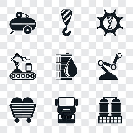 Set Of 9 simple transparency icons such as Refinery, Truck, Coal, Robot arm, Oil, Conveyor, Machinery, Crane, Compressor, can be used for mobile, pixel perfect vector icon pack on transparent Illustration