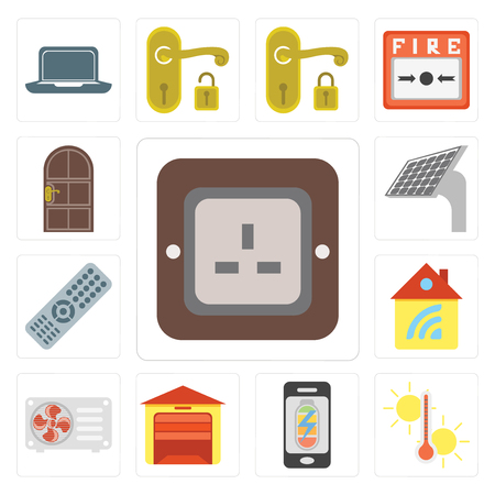 Set Of 13 simple editable icons such as Plug, Temperature, Mobile phone, Garage, Air conditioner, Home, Remote, Panel, Door, web ui icon pack