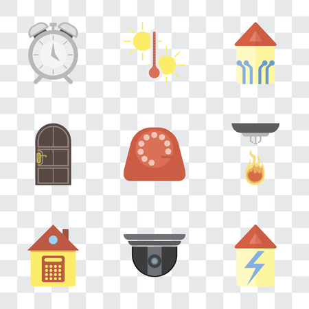 Set Of 9 simple transparency icons such as Home, Security camera, Sensor, Dial, Door, Smart home, Temperature, Alarm, can be used for mobile, pixel perfect vector icon pack on transparent