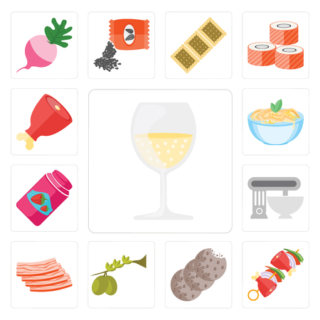 Set Of 13 simple editable icons such as Glass, Kebab, Cookies, Olives, Bacon, Mixer, Jam, Pasta, Ham, web ui icon pack 일러스트