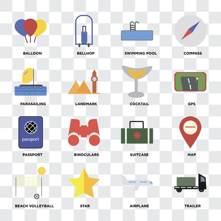 Set Of 16 icons such as Trailer, Airplane, Star, Beach volleyball, Map, Balloon, Parasailing, Passport, Cocktail on transparent background, pixel perfect