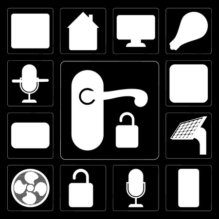 Set Of 13 simple editable icons such as Handle, Mobile phone, Voice control, Unlock, Fan, Panel, Thermostat, Plug, control on black background
