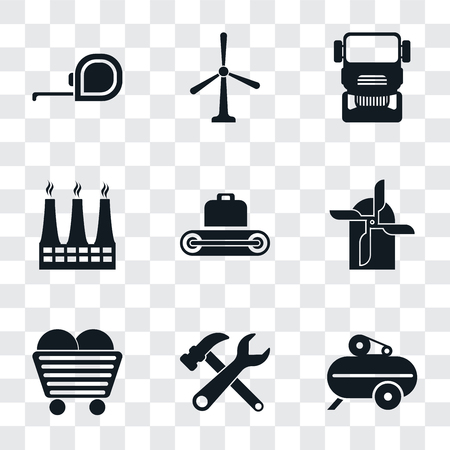 Set Of 9 simple transparency icons such as Compressor, Tools, Coal, Mill, Conveyor, Factory, Truck, Windmill, Measuring tape, can be used for mobile, pixel perfect vector icon pack on transparent