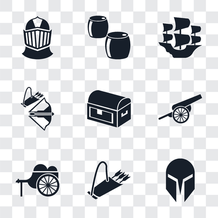 Set Of 9 simple transparency icons such as Helmet, Quiver, Wheelbarrow, Cannon, Chest, Crossbow, Caravel, Beer, can be used for mobile, pixel perfect vector icon pack on transparent