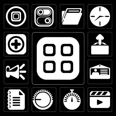 Set Of 13 simple editable icons such as Menu, Video player, Stopwatch, Volume control, Notepad, Id card, Speaker, Upload, Add on black background