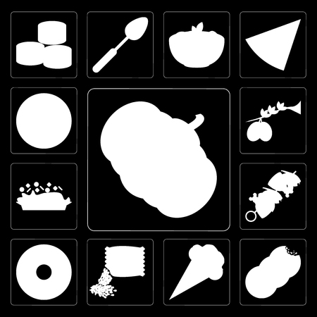 Set Of 13 simple editable icons such as Pumpkin, Cookies, Ice cream, Seeds, Doughnut, Kebab, Risotto, Olives, Pizza on black background Иллюстрация
