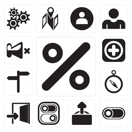 Set Of 13 simple editable icons such as Percent, Switch, Upload, Exit, Compass, , Add, Mute, web ui icon pack