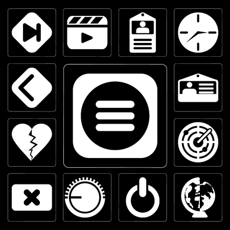 Set Of 13 simple editable icons such as Menu, Worldwide, Switch, Volume control, Close, Radar, Dislike, Id card, Back on black background