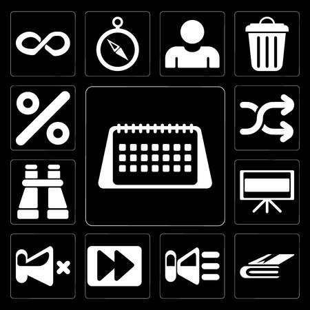 Set Of 13 simple editable icons such as Calendar, Notebook, Speaker, Fast forward, Mute, Television, Binoculars, Shuffle, Percent on black background