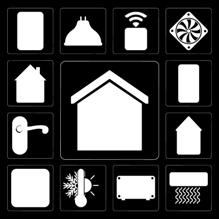 Set Of 13 simple editable icons such as Smart home, Air conditioner, Thermostat, Plug, Home, Doorknob, Mobile, Home on black background