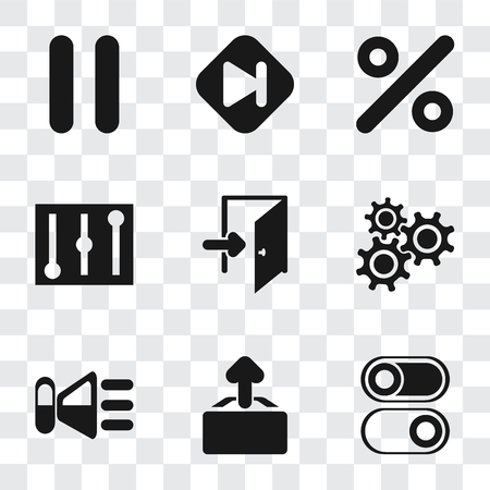 Set Of 9 simple transparency icons such as Switch, Upload, Speaker, Settings, Exit, Controls, Percent, Skip, Pause, can be used for mobile, pixel perfect vector icon pack on transparent background Illustration