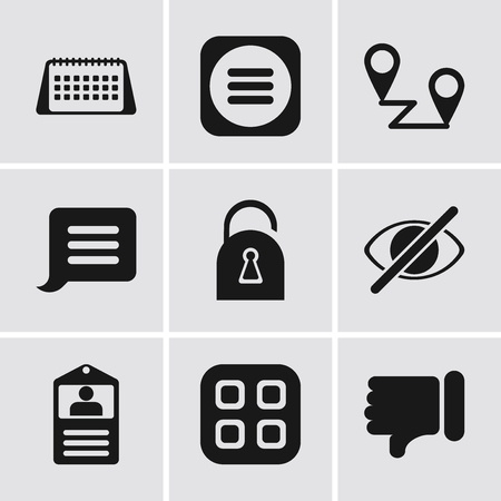 Set Of 9 simple editable icons such as Dislike, Menu, Id card, Hide, Locked, Notification, Placeholders, Calendar, can be used for mobile, pixel perfect vector icon pack