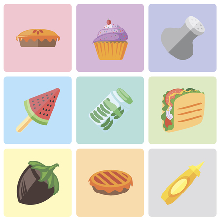 Set Of 9 simple editable icons such as Mustard, Pie, Hazelnut, Taco, Pickles, Ice cream, Salt, Cupcake, can be used for mobile, pixel perfect vector icon pack