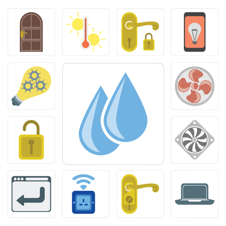Set Of 13 simple editable icons such as Water, Laptop, Doorknob, Socket, Browser, Cooler, Unlock, Fan, Smart, web ui icon pack Illustration