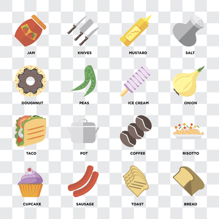 Set Of 16 icons such as Bread, Toast, Sausage, Cupcake, Risotto, Jam, Doughnut, Taco, Ice cream on transparent background, pixel perfect 向量圖像