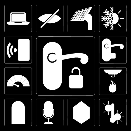 Set Of 13 simple editable icons such as Handle, Temperature, Home, Voice control, Door, Sensor, Meter, Smartphone on black background Иллюстрация