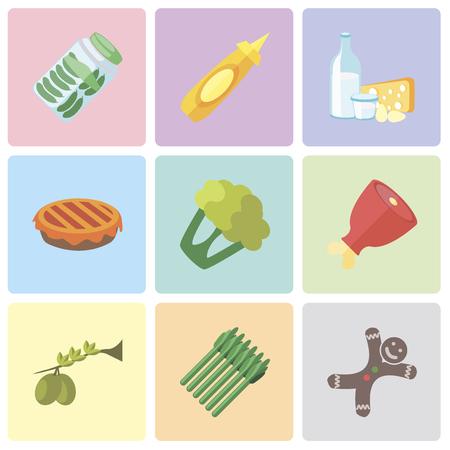 Set van 9 eenvoudige bewerkbare pictogrammen zoals peperkoek, asperges, olijven, ham, bloemkool, taart, zuivel, mosterd, augurken, kan worden gebruikt voor mobiel, pixel perfect vector icon pack Vector Illustratie
