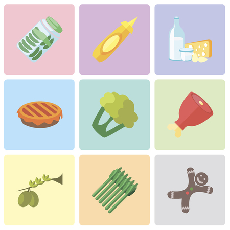 Set Of 9 simple editable icons such as Gingerbread, Asparagus, Olives, Ham, Cauliflower, Pie, Dairy, Mustard, Pickles, can be used for mobile, pixel perfect vector icon pack