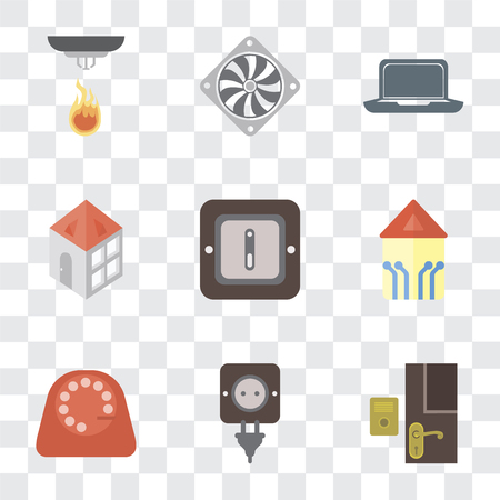 Set Of 9 simple transparency icons such as Doorbell, Plug, Dial, Smart home, Switch, Home, Laptop, Cooler, Sensor, can be used for mobile, pixel perfect vector icon pack on transparent background Illustration