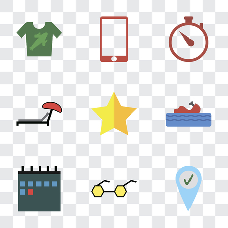 Set Of 9 simple transparency icons such as Check in, Sunglasses, Calendar, Water craft, Star, Sunbed, Time, Phone, Shirt, can be used for mobile, pixel perfect vector icon pack on transparent