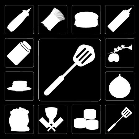 Set Of 13 simple editable icons such as Spatula, Sushi, Butcher, Flour, Fig, Pancakes, Olives, Honey on black background Stock Illustratie