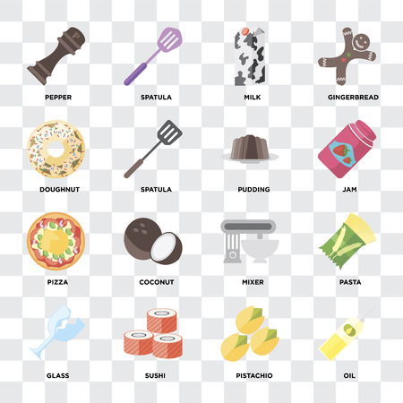 Set Of 16 icons such as Oil, Pistachio, Sushi, Glass, Pasta, Pepper, Doughnut, Pizza, Pudding on transparent background, pixel perfect Stock Vector - 111925940