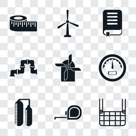 Set di 9 semplici icone di trasparenza come ascensore, metro a nastro, silo, calibro, mulino, tubo, libro, mulino a vento, misura, può essere utilizzato per mobile, pacchetto di icone vettoriali perfetto pixel su sfondo trasparente Vettoriali