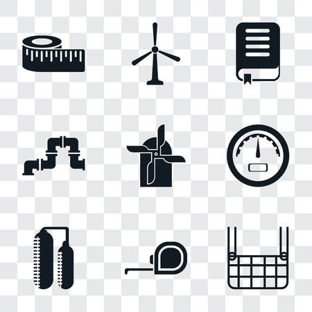 Set Of 9 simple transparency icons such as Elevator, Measuring tape, Silo, Gauge, Mill, Pipe, Book, Windmill, Measure, can be used for mobile, pixel perfect vector icon pack on transparent background