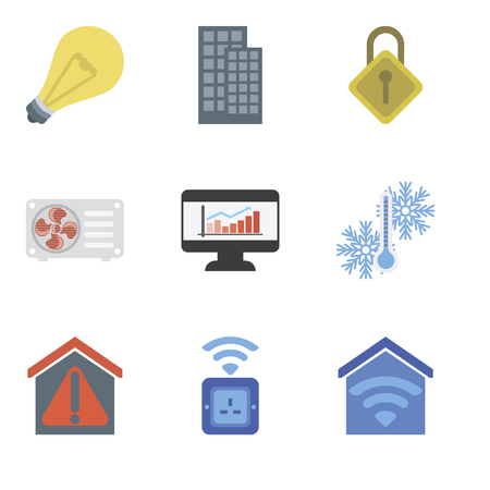 Set Of 9 simple editable icons such as Smart home, Socket, Temperature, Dashboard, Air conditioner, Locking, Light, can be used for mobile, pixel perfect vector icon pack 向量圖像