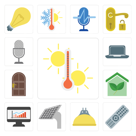 Set Of 13 simple editable icons such as Temperature, Remote, Lightbulb, Panel, Dashboard, Smart home, Door, Laptop, Voice control, web ui icon pack