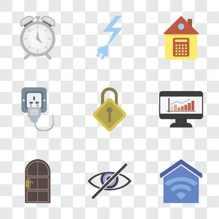 Set Of 9 simple transparency icons such as Smart home, Blind, Door, Dashboard, Locking, Plug, Home, Power, Alarm, can be used for mobile, pixel perfect vector icon pack on transparent background 向量圖像
