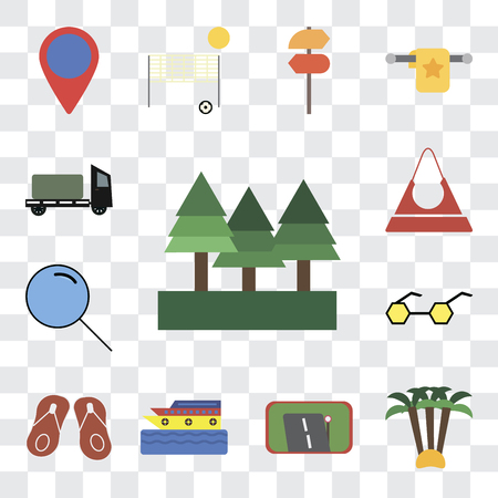 Set Of 13 transparent editable icons such as Forest, Palm tree, Gps, Cruise, Flip flops, Sunglasses, Search, Purse, Trailer, web ui icon pack, transparency set
