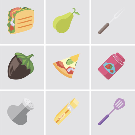 Set Of 9 simple editable icons such as Spatula, Butter, Salt, Jam, Pizza, Hazelnut, Fork, Pear, Taco, can be used for mobile, pixel perfect vector icon pack Vecteurs