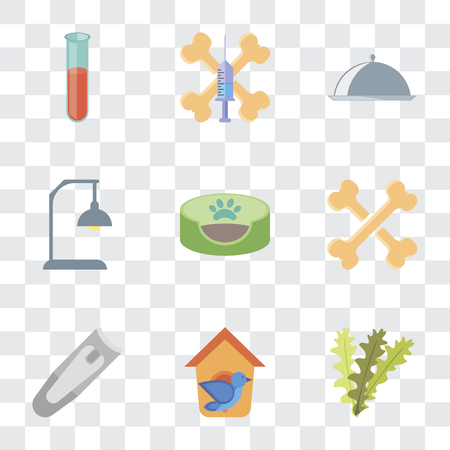 Set Of 9 simple transparency icons such as Seaweed, Bird house, Nail clippers, Bones, Pet bed, Lamp, Food, Treats, Test tube, can be used for mobile, pixel perfect vector icon pack on transparent Stock Vector - 111925948