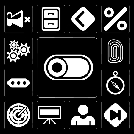 Set Of 13 simple editable icons such as Switch, Skip, User, Television, Radar, Compass, More, Fingerprint, Settings on black background Illustration