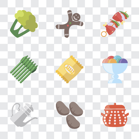 Set Of 9 simple transparency icons such as Pot, Potatoes, Teapot, Ice cream, Chips, Asparagus, Kebab, Gingerbread, Cauliflower, can be used for mobile, pixel perfect vector icon pack on transparent